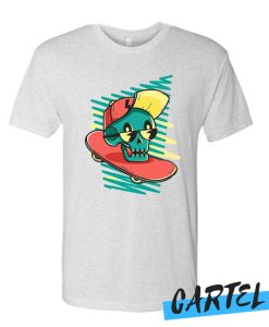 Green Skater Skull awesome T-shirt