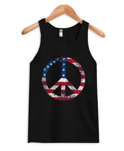 American Flag Peace Tank Top